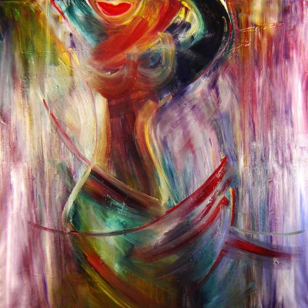 Lee  Eggstein   Frau in Rot     Acryl auf Leinwand  200x200cm  €  19600,-