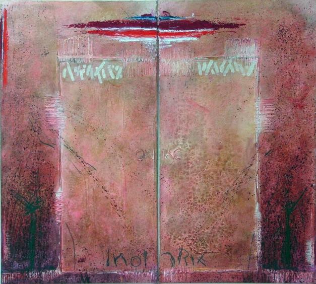 12-04 Mischtechnik Leinwand 2-teilig 100 x 90 cm