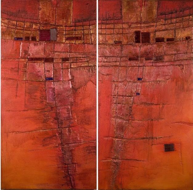 06-18 Mixed Media Holz 2-teilig 152 x 150 cm