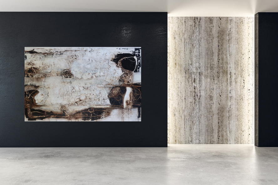 Wall with empty poster in modern interior