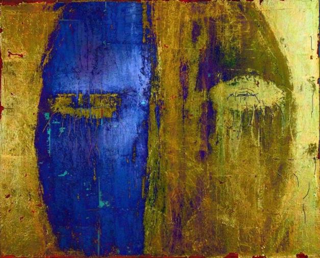 13-11 Mischtechnik Blattgold Leinwand 40 x 50 cmGesicht_Gold kleiner