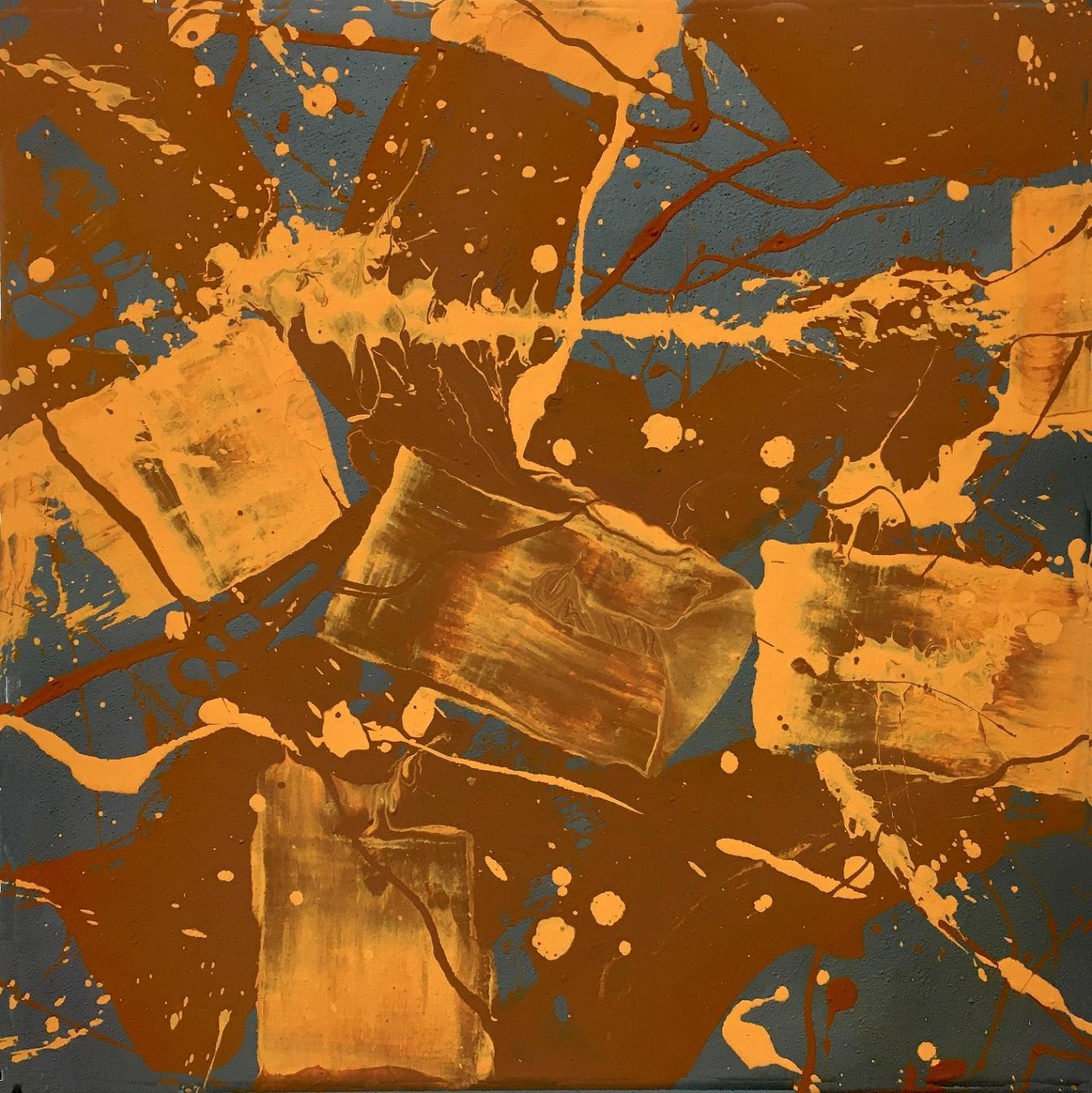 Grau Gelb 1 40 x 40 cm