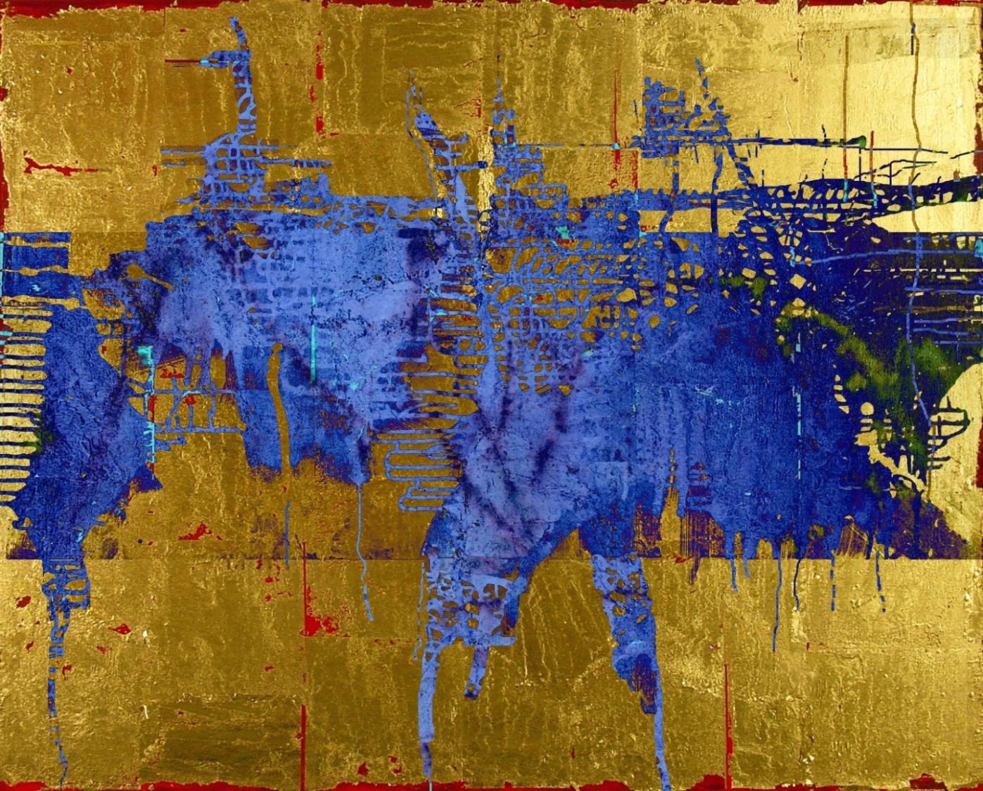 13-11 Mischtechnik Blattgold Leinwand 40 x 50 cm_Gold-Blue