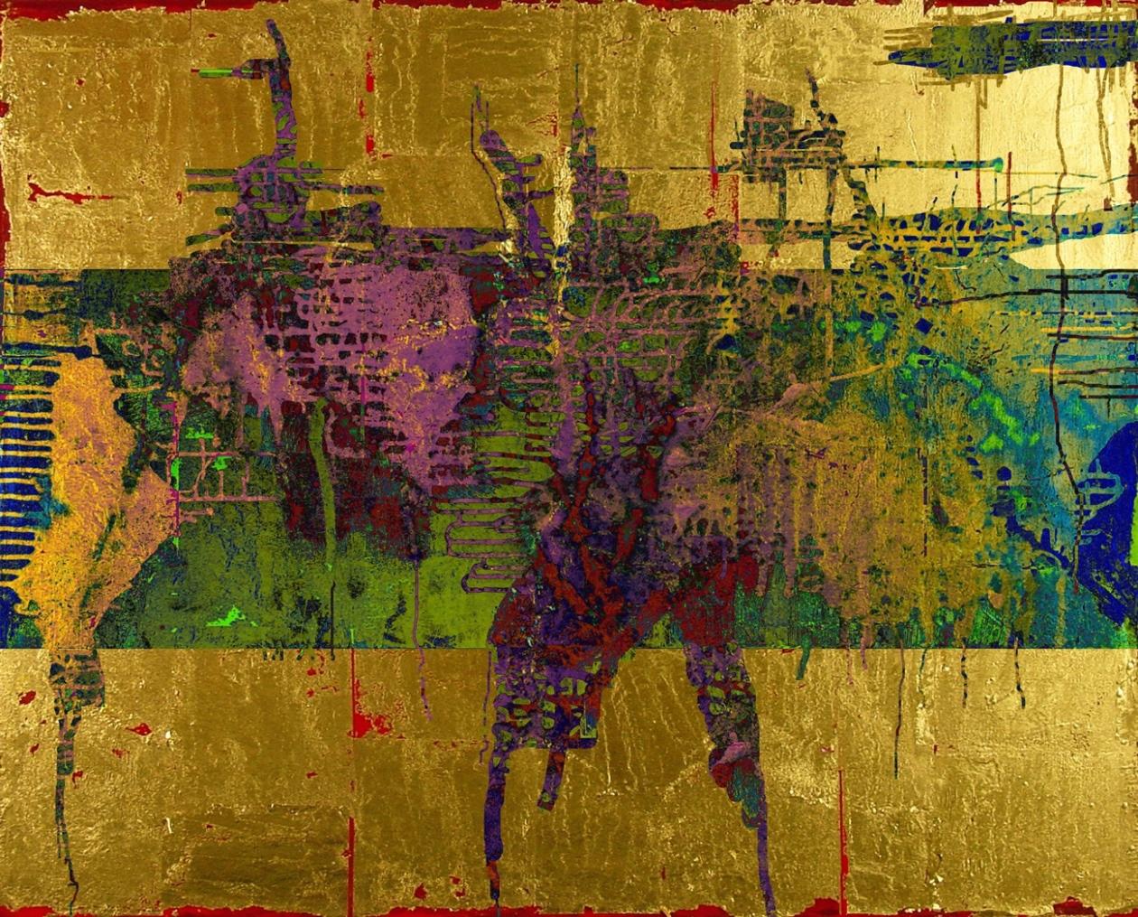 13-11 Mischtechnik Blattgold Leinwand 40 x 50 cm_Gold-Pink-1