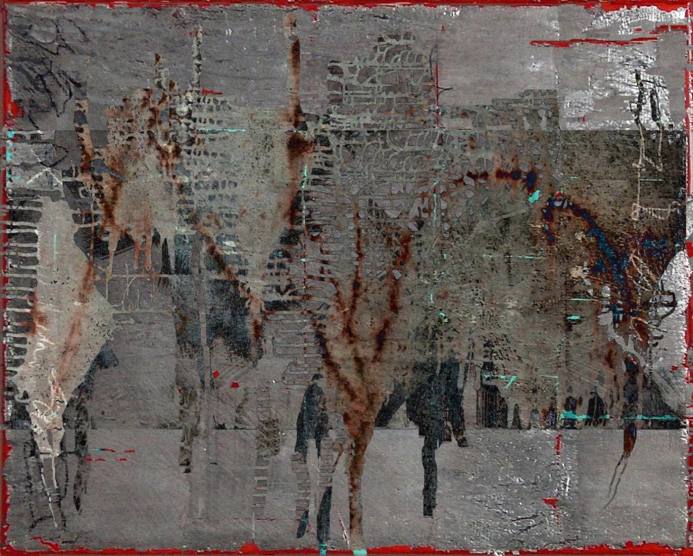 13-15 Mischtechnik Blattsilber Leinwand 40 x 50 cm_Siler Leaf-Braun