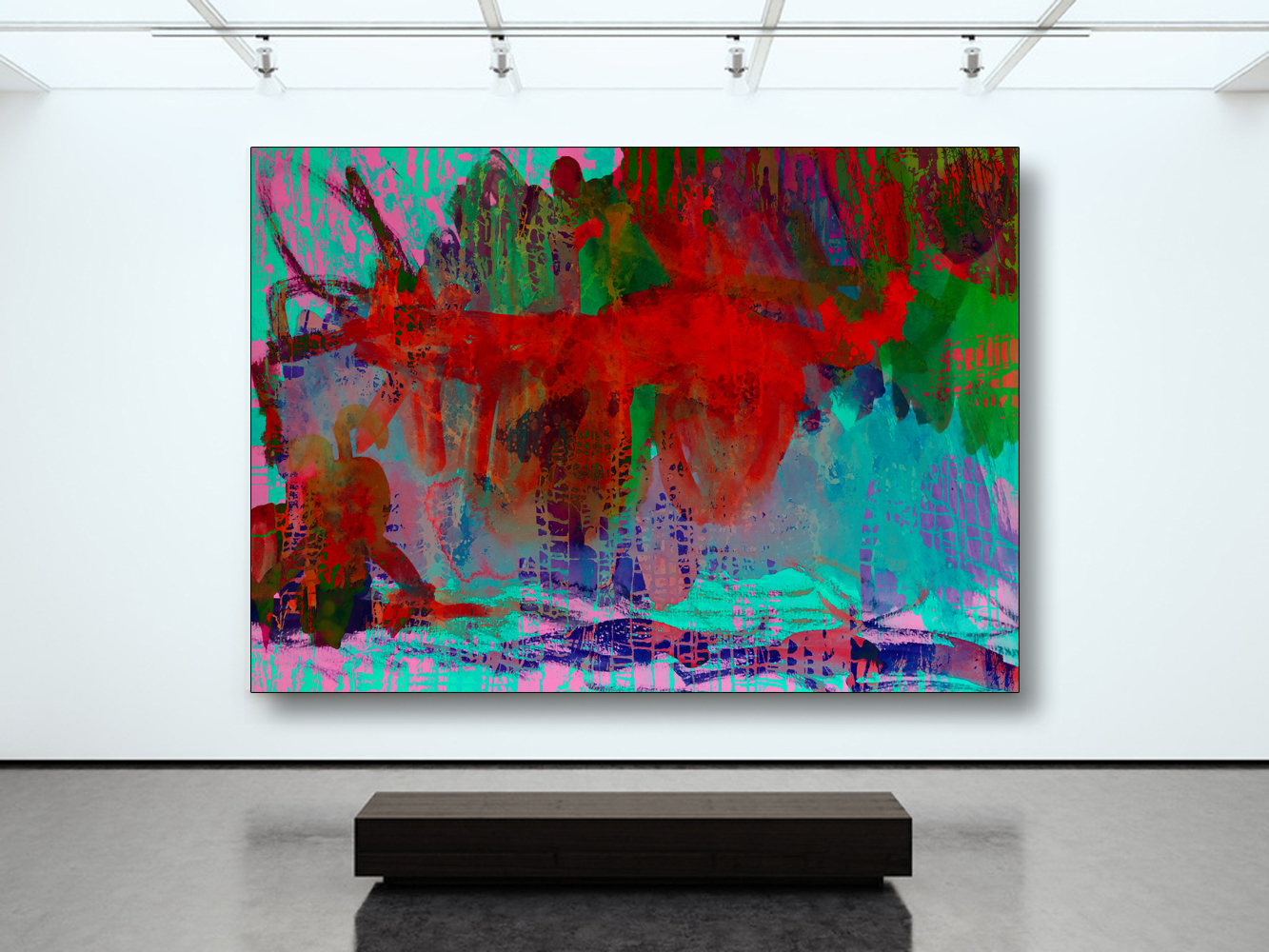 Photo blank white canvas holding contemporary gallery. Modern open space expo with concrete floor. Place for business information. Horizontal mockup. 3d Render